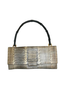 Authentic Gucci Bamboo Handle Snake Skin Leather Handbag