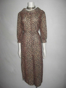 Vintage Animal Leopard Print Portrait Collar Cropped Wide Leg Gaucho Belted Knit Mod Jumpsuit