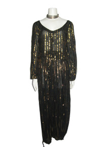 Vintage Made In India Cotton Sheer Black Metallic Lurex Lame Stripe Gauze Disco Top + Harem Pants 2pc Outfit Ensemble