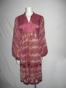 Vintage Made In India Multicolor Metallic Quilted Sheer Crinkled Gauze Sequins Embroidery Hippie Boho Gypsy Festival Tent Caftan Dress