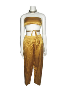 Vintage Rare Chacok Made In France Mustard Yellow Halter Top + Matching Lined Satin Pants 2pc Outfit Ensemble