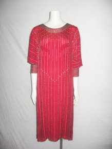 Vintage Pure Silk Red Multi-color Beaded Balloon Poet Sleeve Trophy Deco Flapper Dress