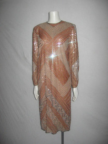Vintage Diva Nude Silver Sequins Beads Metallic Embroided Embellished Puff Cinched Sleeve Slouchy Flapper Silk Dress w/ Side Slit