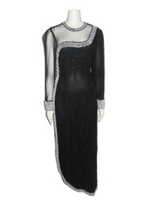Vintage Stunning Glam Gatsby Black See Thru Mesh Silver Sequins Pearl Beads Embellish Long Sleeve Curved Hemline Long Asymmetrical Dress