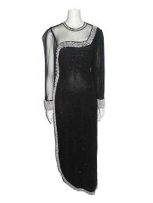 Vintage Stunning Glam Gatsby Black See Thru Mesh Silver Sequins Pearl Beads Embellish Long Sleeve Curved Hemline Long Asymmetrical Dress
