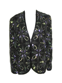 Vintage Adrianna Papell Evening Made In India 100% Silk Polyester Lining Sequins Beads Heavily Embellished Glam Trophy Jacket