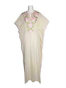 Vintage Biege Muticolor Floral Scallop Edge Embroidery Ethnic Hippie Boho Angel Kimono Sleeve Multifunctional Long Caftan Dress