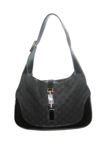 """Vintage Authentic Gucci Made In Italy Black Leather Silver Metal Latch Closure Fabric Double GG Signature """"Jackie O"""" Hobo Leather Handbag"""