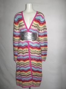 Vintage Boston Proper Multi-color Crochet Open Multi Stitch Heavy Blanket Granny Duster Jacket Sweater Coat