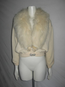 Vintage Dalto 100% Virgin Cashmere Wide Fur Shawl Collar Decorative Button Sweater Cardigan