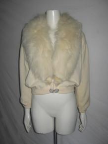 Vintage Dalto 100% Virgin Cashmere Wide Fur Shawl Collar Decorative Button Sweater Cardigan