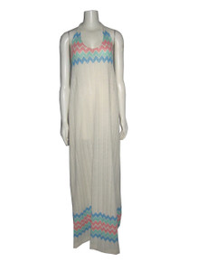 POYZA Vintage Fabric Design OOAK One Of A Kind Bone Multi-color Zig Zag Striped Halter Long Maxi Dress