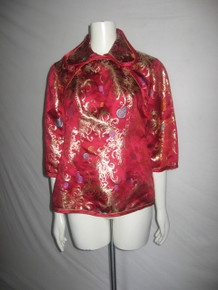 Vintage Magenta Multi-color Metallic Gold Leaf Geometric Brocade Satin Mandarin Kimono Ethnic Blouse