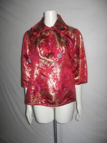 Vintage Magenta Multi-color Metallic Gold Leaf Geometric Brocade Satin Mandarin Kimono Ethnic Blouse
