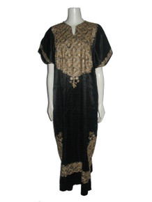 Vintage Floral Embroidered Black Beige Metallic Gold Silver Lurex Hippie Boho Caftan