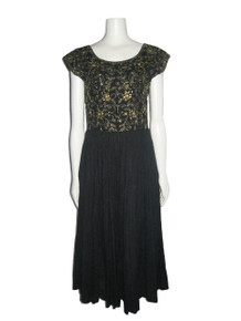 Vintage Black Metallic Gold Embroidery Sequin Embellish India Boho Ethnic Tier Gauze Dress