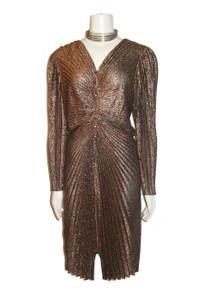 Vintage New Leaf California By Samir Metallic Copper Bronze Lurex Lame Black Pleated Dress
