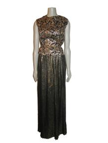 Vintage Designer Oscar De La Renta Metallic Gold Lame Black Snake Print High Waist Long Pleated Skirt