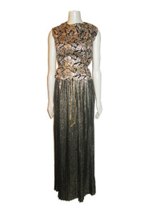 Vintage Designer Oscar De La Renta Metallic Gold Lame Black Snake Print High Waist Long Pleated Skirt