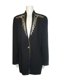 Vintage Lew Magram Collection Black Metallic Gold Embroidered Multi-functional Tuxedo Blazer Jacket Dress