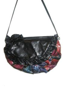 Vintage Cynthia Matthews Black Multi-color Painted Floral Shirred Ruffled Rossette Flap Closure Large Hippie Boho Leather Handbag