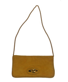 Vintage Yellow Suede Or Ultra Suede Gold Chain Strap Handbag