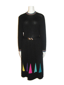 Vintage Black Multi-color Striped Triangle Shaped Belted Knit Sweater Dress