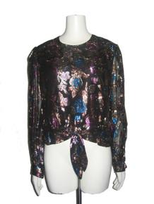 Vintage Hal Ferman Black Multi-color Metallic Lurex Lame Floral Waist Tie Blouson Blouse Top