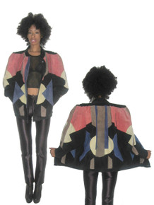 Vintage Multi-color Art Deco Geometric Patchwork Shirred Buttoned Suede Jacket