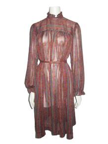 Vintage See Thru Sheer Multi-color Floral Print Striped Ruffled Belted Smock Dress