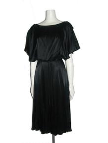 Vintage NWT Unworn Black Satin Dolman Sleeve Slit Butterly Fan Blouson Bodice Flared Disco Belted Dress