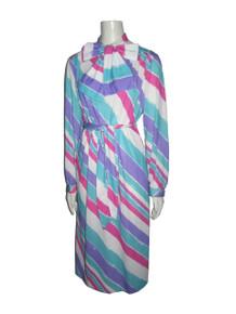 Vintage LANVIN Designer NWT Unworn Multicolor Diagonal Stripe Scarf Tie Neck Pussy Bow Knit Belted Dress