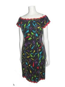 Vintage Rimini Multi-Color Vibrant Colorful Pint Clear Sequins Embellished Off Shoulder Short Cocktail Dress