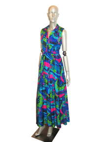 Vintage Lord & Taylor Multicolor Psychedelic Print Sleeve Less Long Hippie Boho Hawaiian Mod Hostess Belted Dress