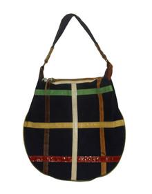Blue Multicolor Color-block Leather Hobo Vintage Handbag