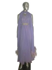 Vintage Park Avenue Fashions Lavendar Empire Waist Rhinestone Bead Shirred Sleeveless Formal Feather Boa Trim Long Shawl Dress Gown