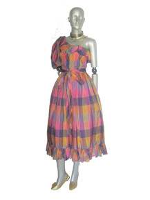 Vintage A J Bari Muticolor Pastel Metallic Gold Vertical Hortizontal Stripe Gingham Check Plaid One Shoulder Asymetrical Ruffle Tulle Belt Dress