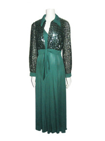 Vintage Richilene Elizabeth Arden Green Sequins Tie Waist Bolero Jacket + Matching Sleeveless Multi-gore Long Flared Dress 2pc Outfit Ensemble