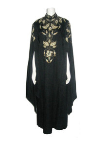 VTG Miss Egypt Black Gold Metallic Embroidery Rhinestone Beads Encrusted Embellish Long Point Hem Cape Sleeve Caftan Grecian Long Gown Dress