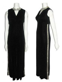 Vintage NWT Unworn Sue Saunders Black Velvet Silver Sequins Sleeveless Peep-a-Boo Cut-out Neck Wide Leg Palazzo Hostess Mod Striped Tuxedo Jumpsuit