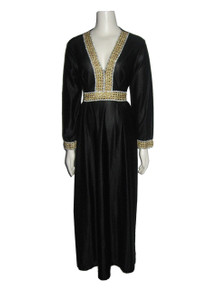 Vintage Elaine Sklar Metallic Black Gold Silver Trim Long Tie Waist Mod Hippie Boho Hostess Caftan Dress