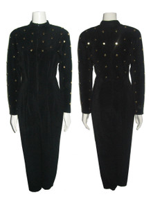 Vintage Susan Roselli For Vijack Avant Garde Black Gold Studs Mock Long Sleeve Zip Front Stirrup Bodysuit Jumpsuit
