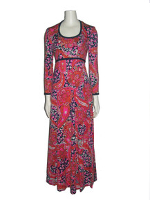 Vintage B Altman & Co Multi-color Psychedelic Floral Print Hippie Boho Mod Long Dress