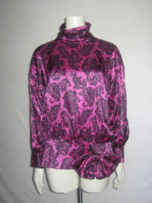 Vintage Pink Black Floral Lace Silk Print Buttoned Back Big Waist Bow Multi-functional Tunic Blouse Micro Mini Dress