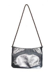 Saks Fifth Avenue Metallic Silver Chain Strap Vintage Mod Handbag