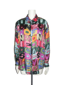 Vintage Xinqu Vibrant Multi-color Words Printed Art Oversize Buttoned Silk Shirt