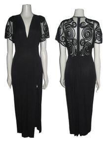 Vintage Susan Roselli For Vijak Black See Thru Mesh Ribbon Work V-Neck Long Slit Dress
