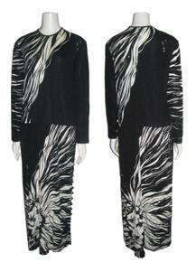 Vintage Designer Signed Paganne By Gene Berk Black Off White Big Tiger Face Printed Long Dress