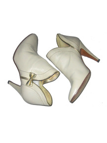 Vintage Ripa Made In Italy Beige Metallic Gold Fashion Bow Tie Leather High Stiletto Heel Fashion Ankle Booties Boots
