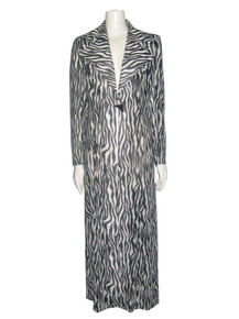 Vintage Design Todays Black Off White Zebra Print  Wide Notched Collar Cape Detail Multi-functional Long Jacket Dress